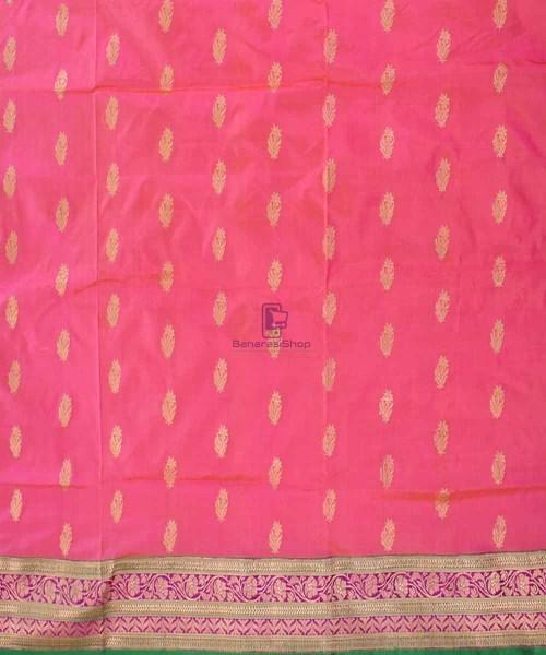Banarasi Pure Katan Silk Handloom Saree in Pink and Green 4