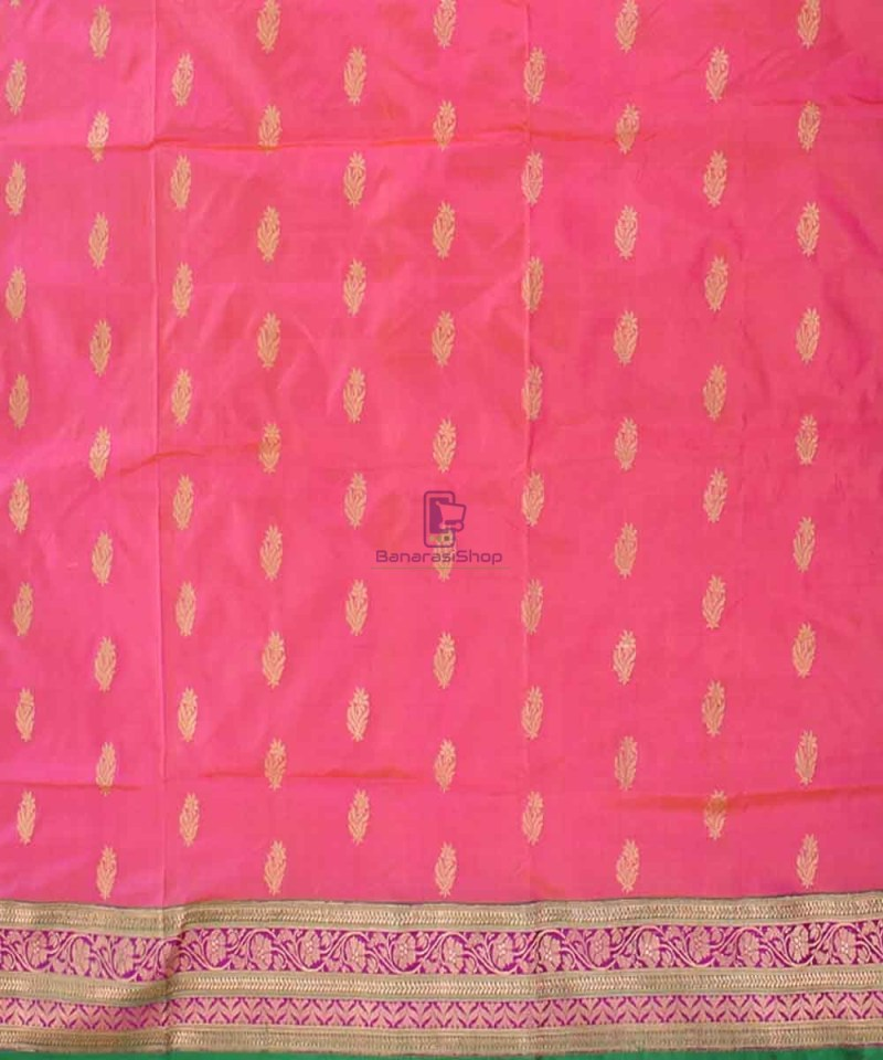 Banarasi Pure Katan Silk Handloom Saree in Pink and Green 2