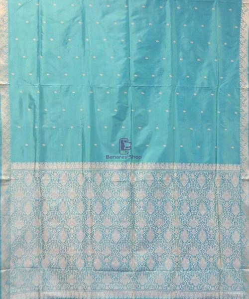 Banarasi Pure Handloom Cerulean Blue Katan Saree 4