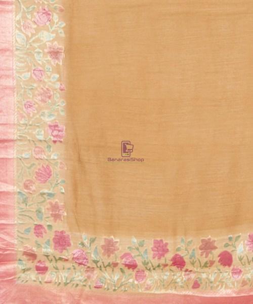 Woven Pure Banarasi Handpainted Muga Silk Biscotti Brown Saree 6