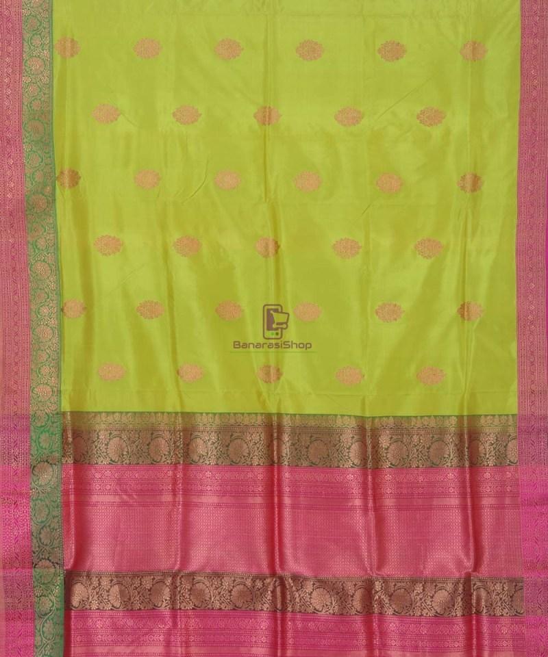Banarasi Pure Handloom Lime Green Katan Silk Saree 2