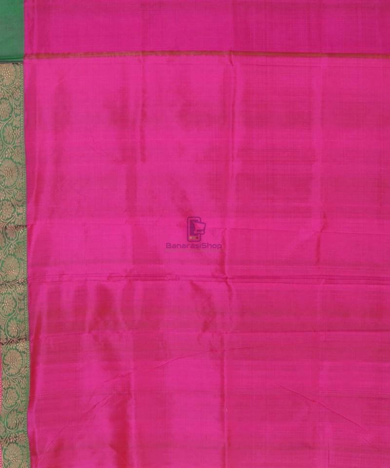 Banarasi Pure Handloom Lime Green Katan Silk Saree 4