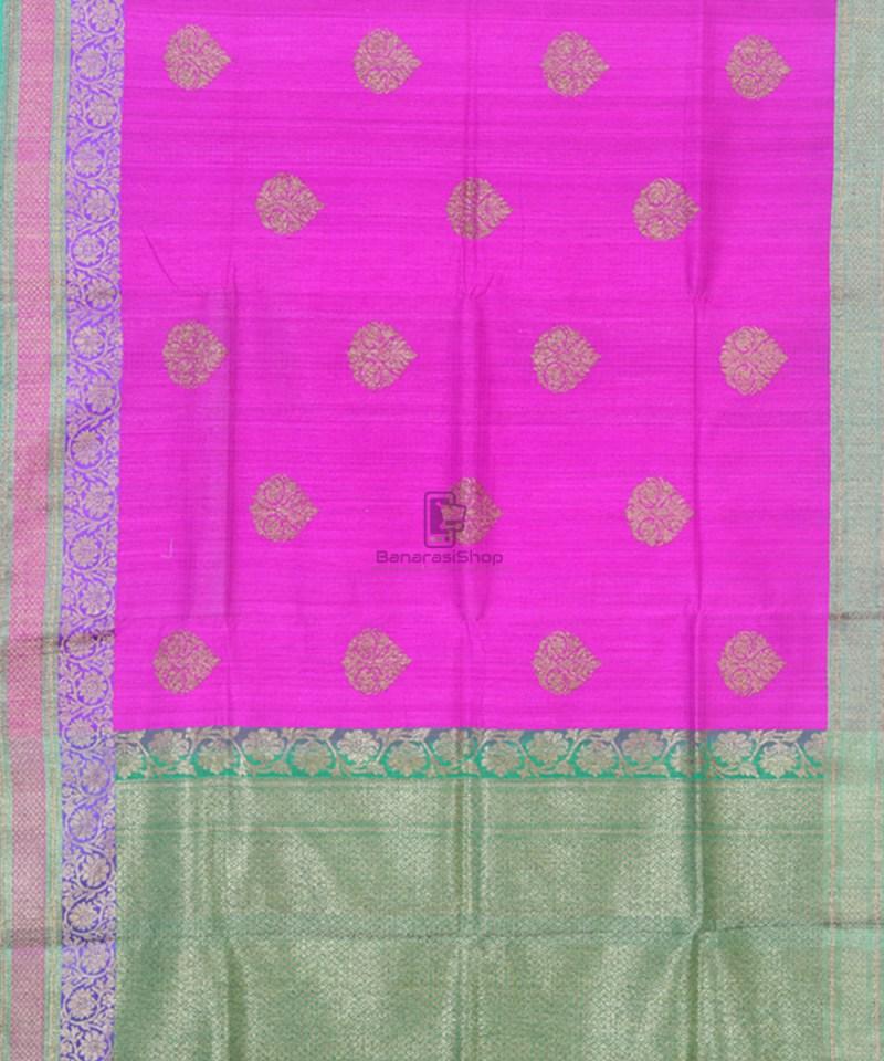Banarasi Pure Handloom Dupion Silk Taffy Pink Saree 1