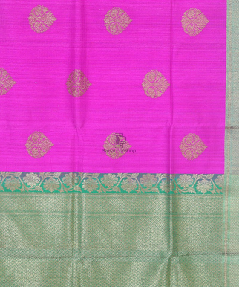 Banarasi Pure Handloom Dupion Silk Taffy Pink Saree 3