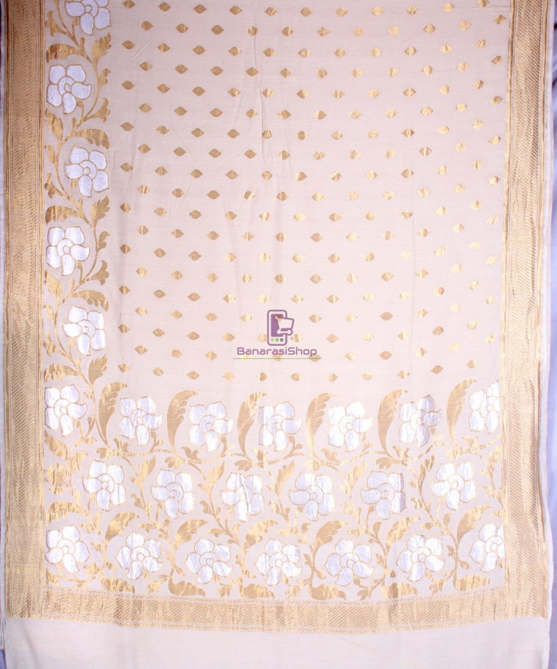 Handwoven Banarasi Muga Silk Saree in Natural Color 3