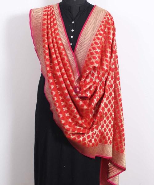 Banarasi Art Silk Red Dupatta 4