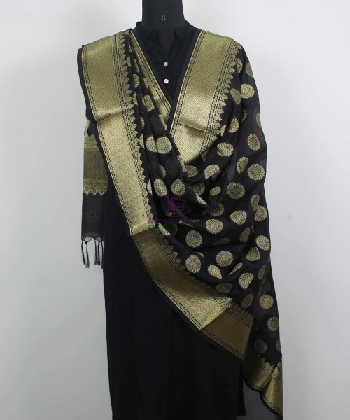 Banarasi Art Silk Black Dupatta 4