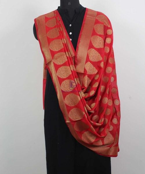 Banarasi Art Silk Antique Gold Zari Buti Dupatta in Red 4