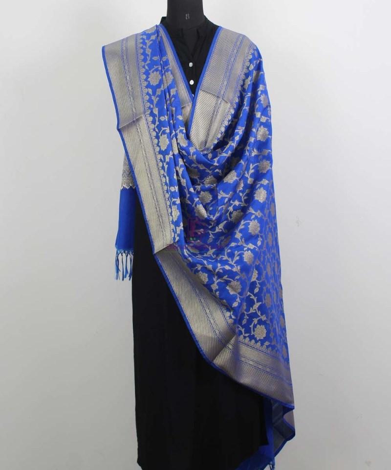 Banarasi Cotton Silk Jaal Royal Blue Dupatta 2