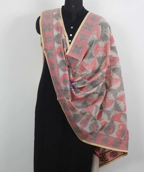 Banarasi Cotton Silk Beige, Red and Black Dupatta 4
