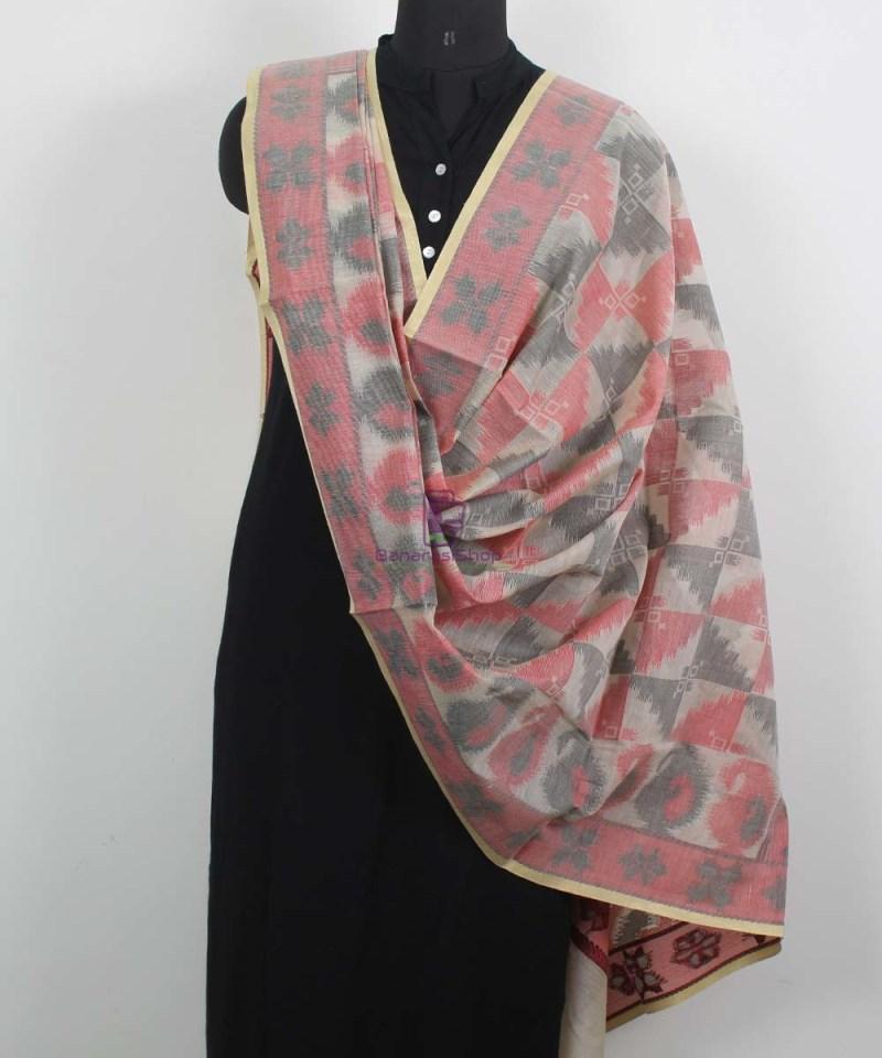 Banarasi Cotton Silk Beige, Red and Black Dupatta 2