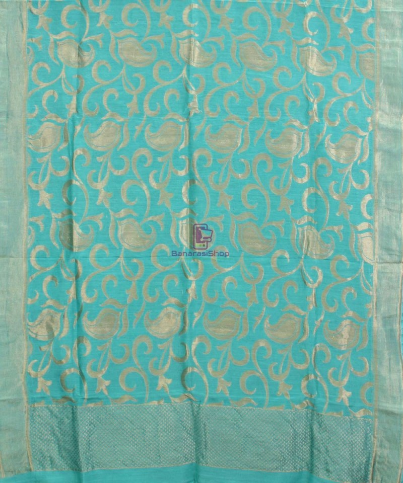 Handloom Banarasi Pure Muga Silk Dupatta in Sea Green 1