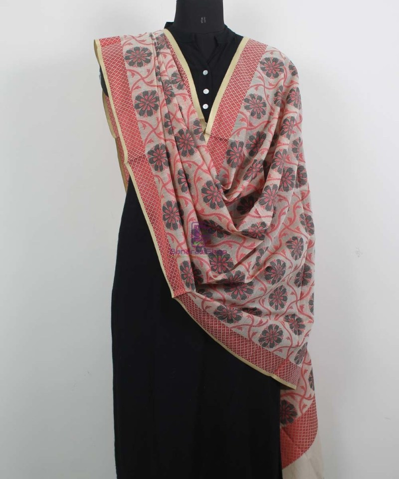 Banarasi Cotton Silk Red, Black and Beige Silk Dupatta 2