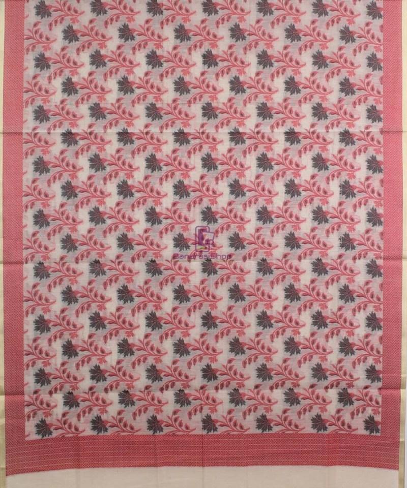 Banarasi Cotton Silk Red, Black and Beige Dupatta 1