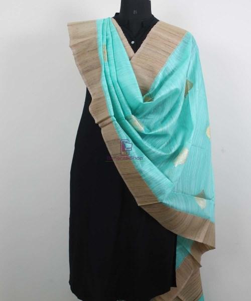 Banarasi Pure Dupion Silk Handloom Cyan Blue Dupatta With Khichha Pallu 4
