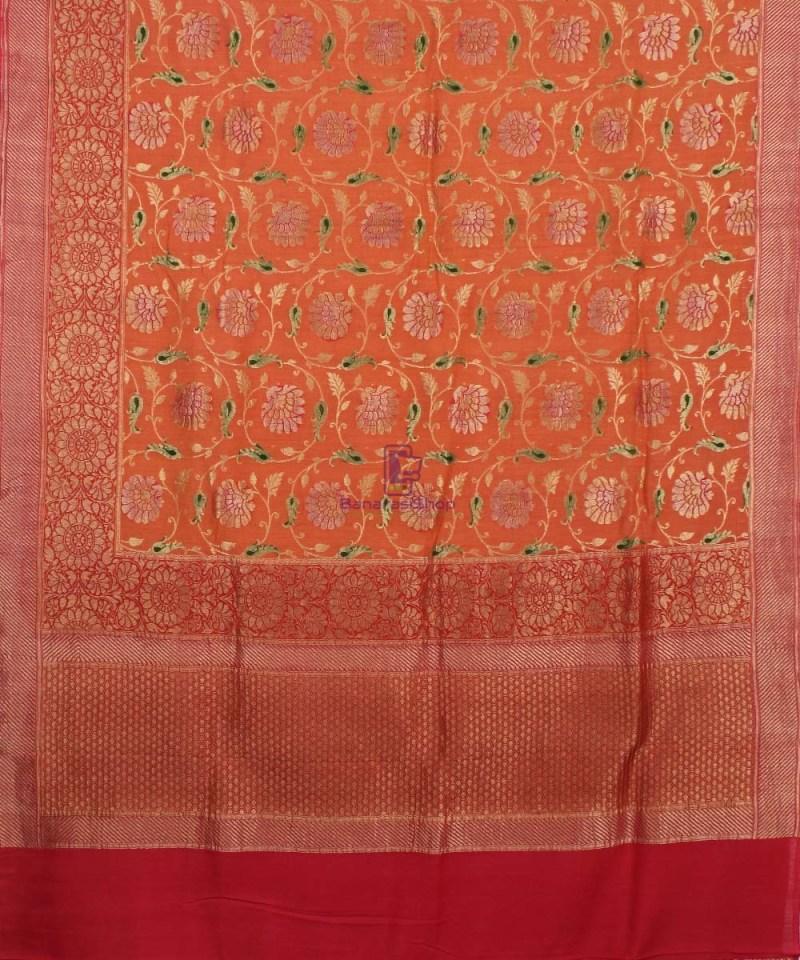 Banarasi Pure Handloom Muga Orange Silk Saree 1