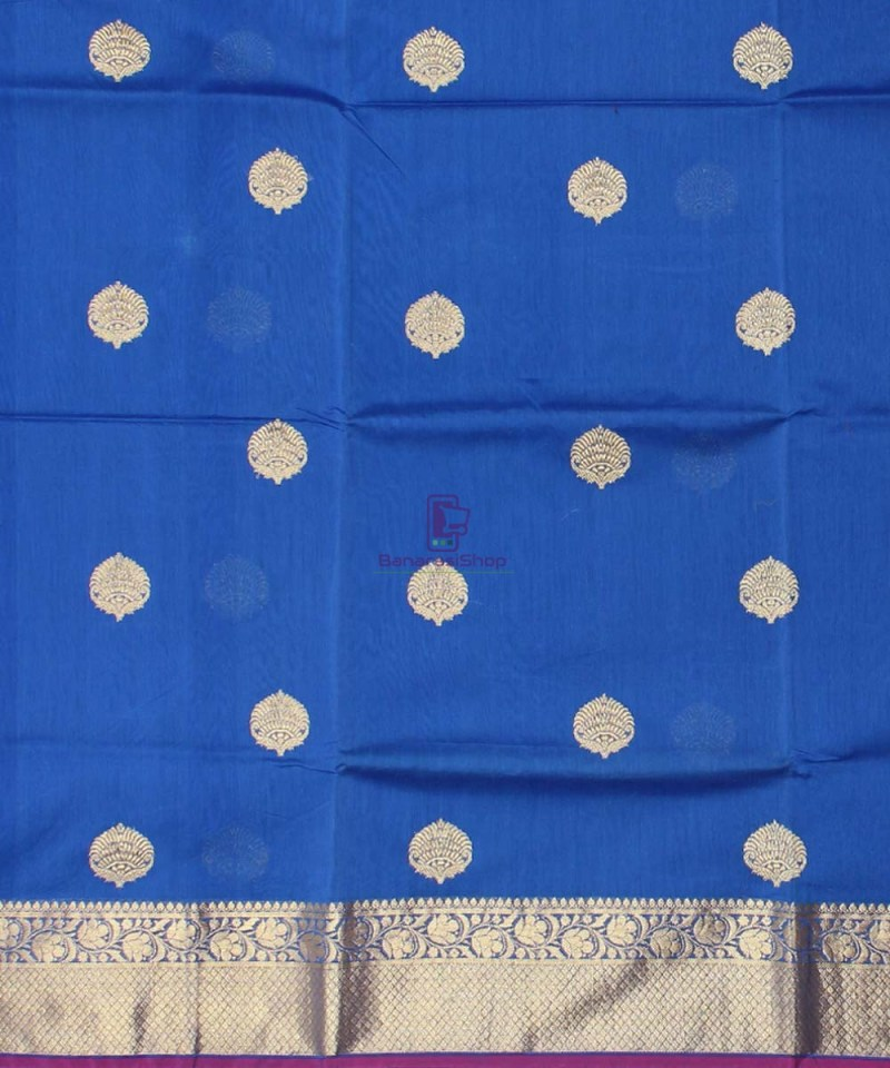 Banarasi Pure Handloom Silk Cotton Blue Saree 2