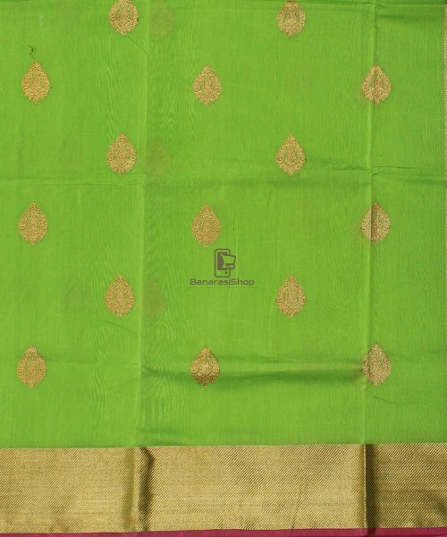 Banarasi Pure Handloom Silk Cotton Lime Green Saree 4