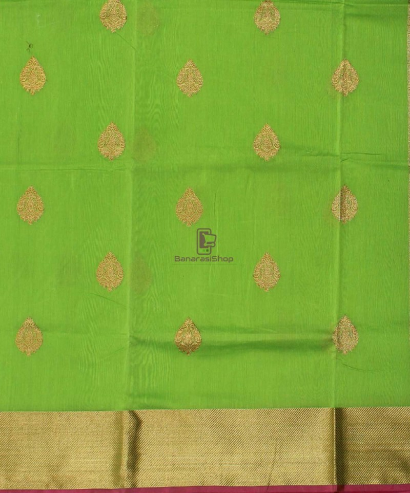 Banarasi Pure Handloom Silk Cotton Lime Green Saree 2
