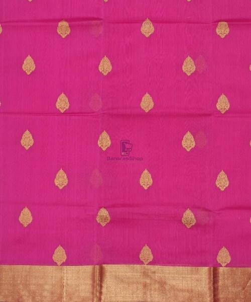 Banarasi Pure Handloom Silk Cotton Pink Saree 4