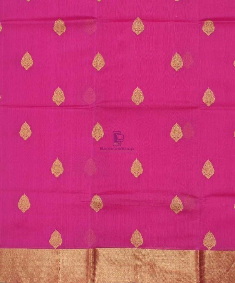 Banarasi Pure Handloom Silk Cotton Pink Saree 2