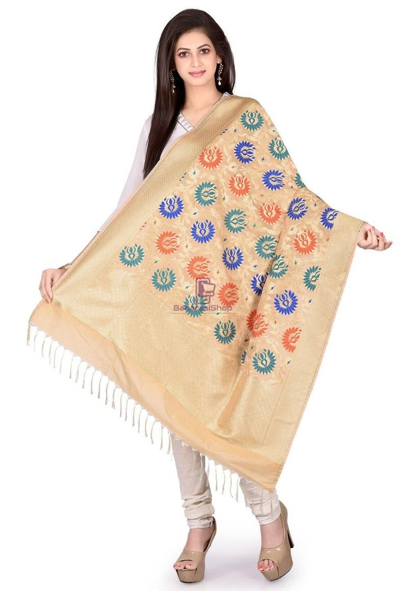 Woven Banarasi Art Silk Kimkhab Dupatta in Beige 1
