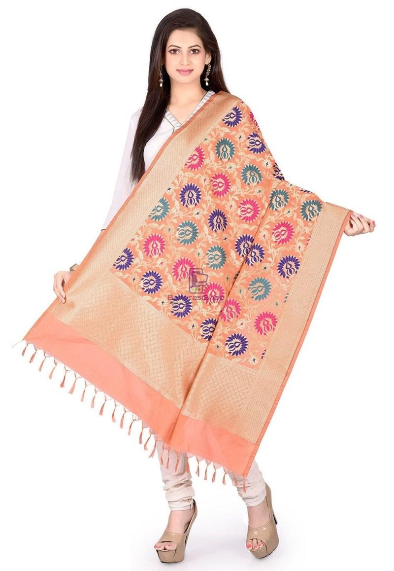 Woven Banarasi Art Silk Kimkhab Dupatta in Peach 1