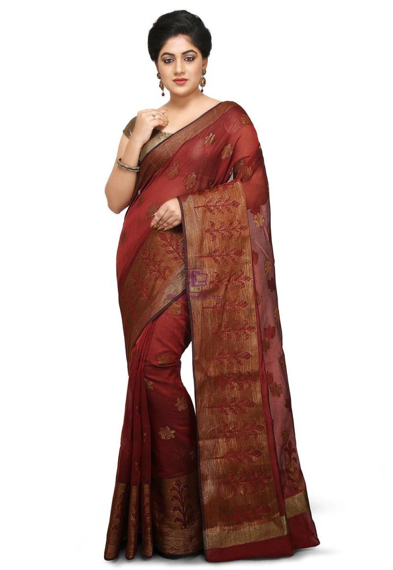 Woven Cotton Silk Jacquard Saree in Maroon 1