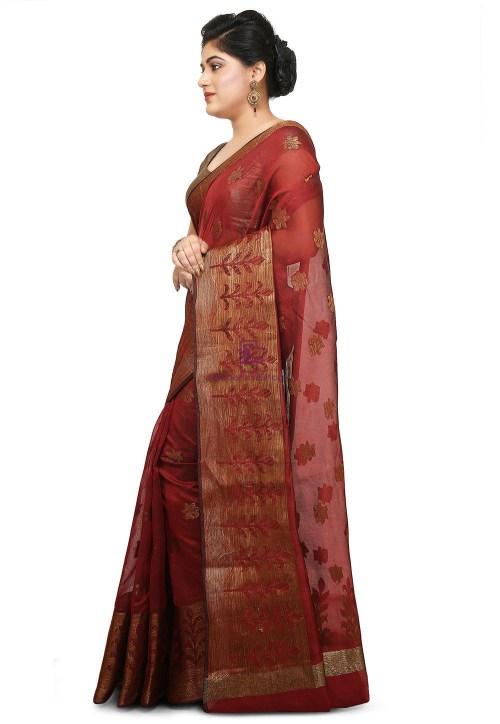 Woven Cotton Silk Jacquard Saree in Maroon 7