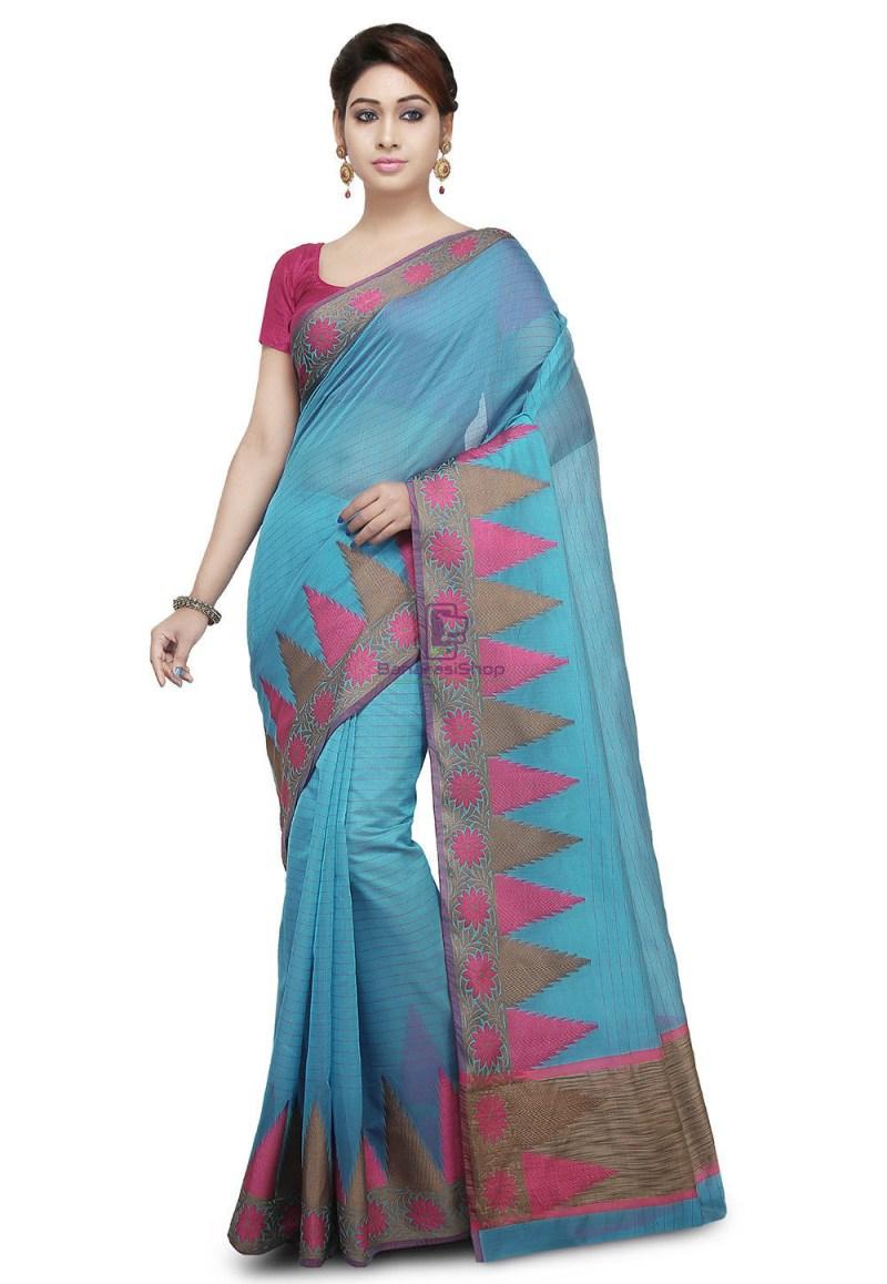 Woven Cotton Silk Saree in Light Blue 1