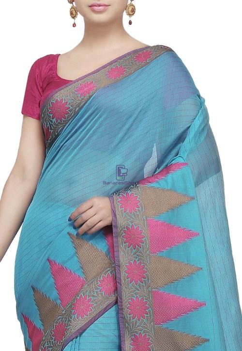 Woven Cotton Silk Saree in Light Blue 5