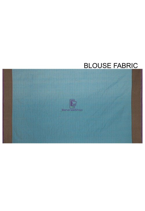 Woven Cotton Silk Saree in Light Blue 6