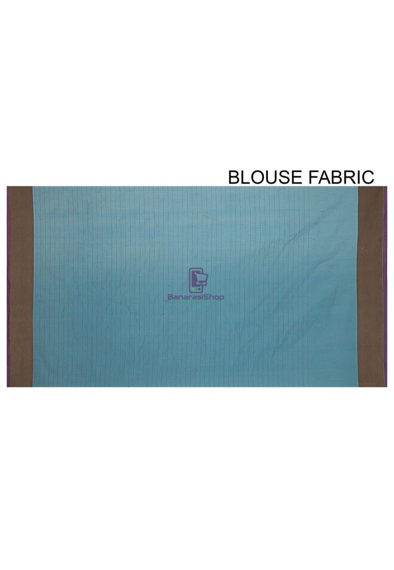Woven Cotton Silk Saree in Light Blue 3
