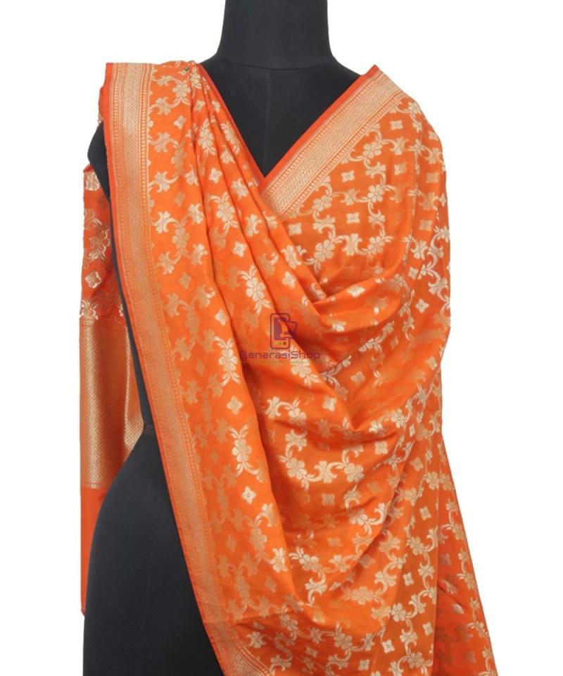 Tiger Orange Banarasi Handloom Dupatta 1