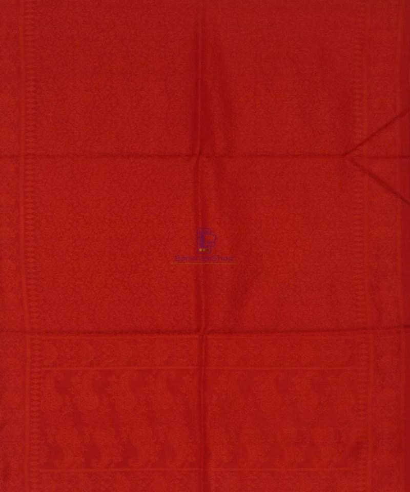Handloom Banarasi Tanchoi Candy Red Stole 3