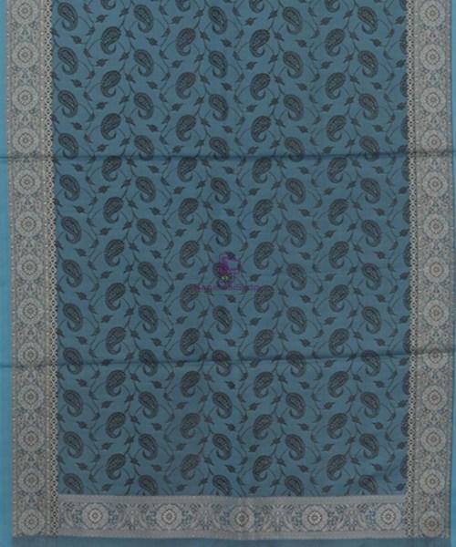Handloom Banarasi Tanchoi Lapis Blue Stole 5
