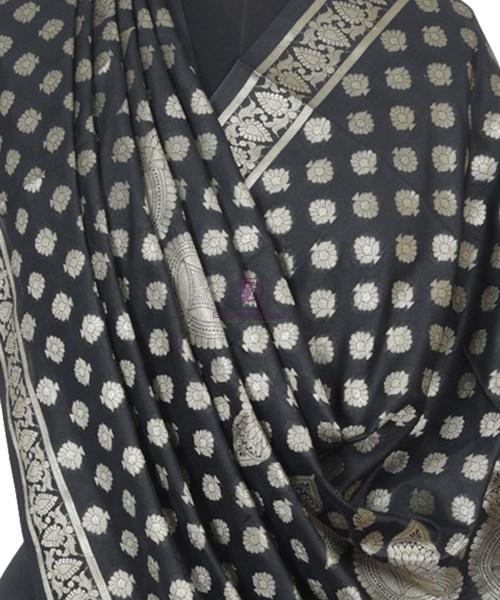 Banarasi Handloom Shadow Black Dupatta 4