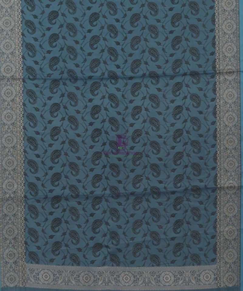 Blue Handloom Banarasi Tanchoi Stole 3