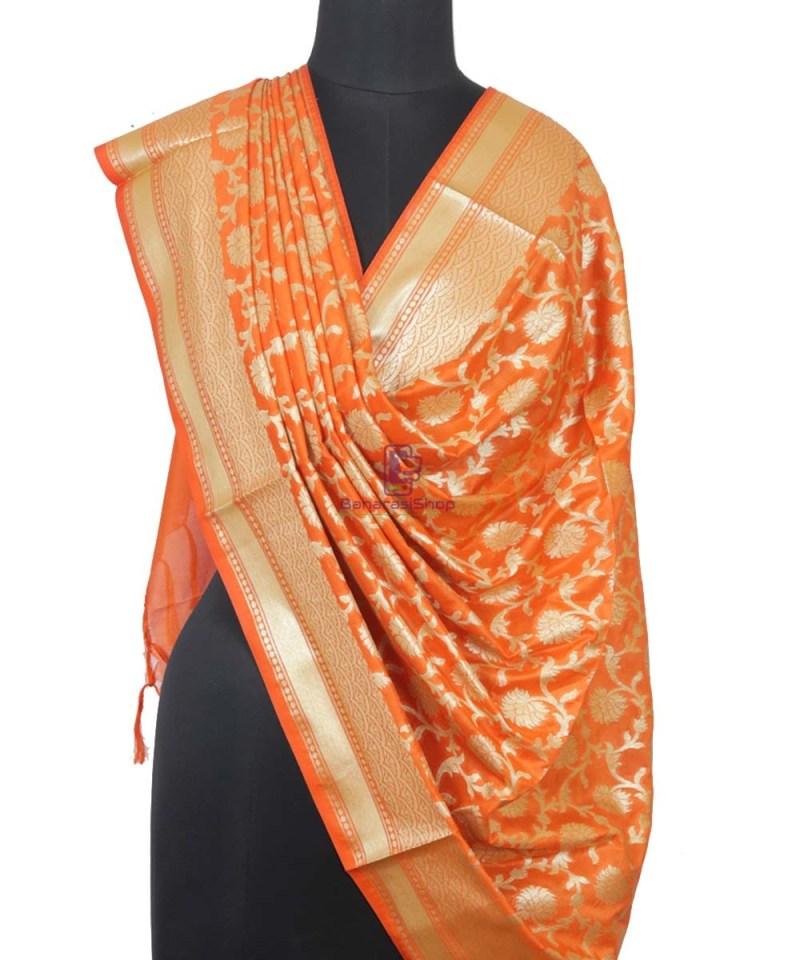 Banarasi Handloom Orange Tangerine Dupatta 1