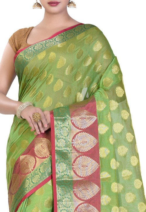 Banarasi Cotton Silk Saree in Light Green 5