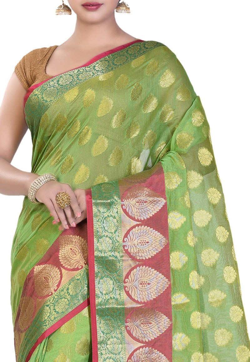 Banarasi Cotton Silk Saree in Light Green 2
