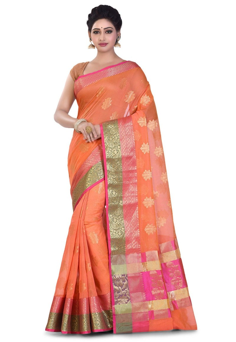 Banarasi Cotton Silk Saree in Orange 1