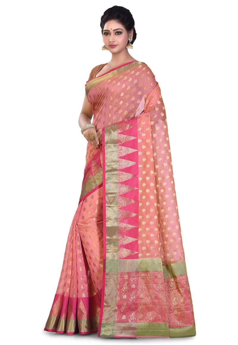 Banarasi Cotton Silk Saree in Peach 4