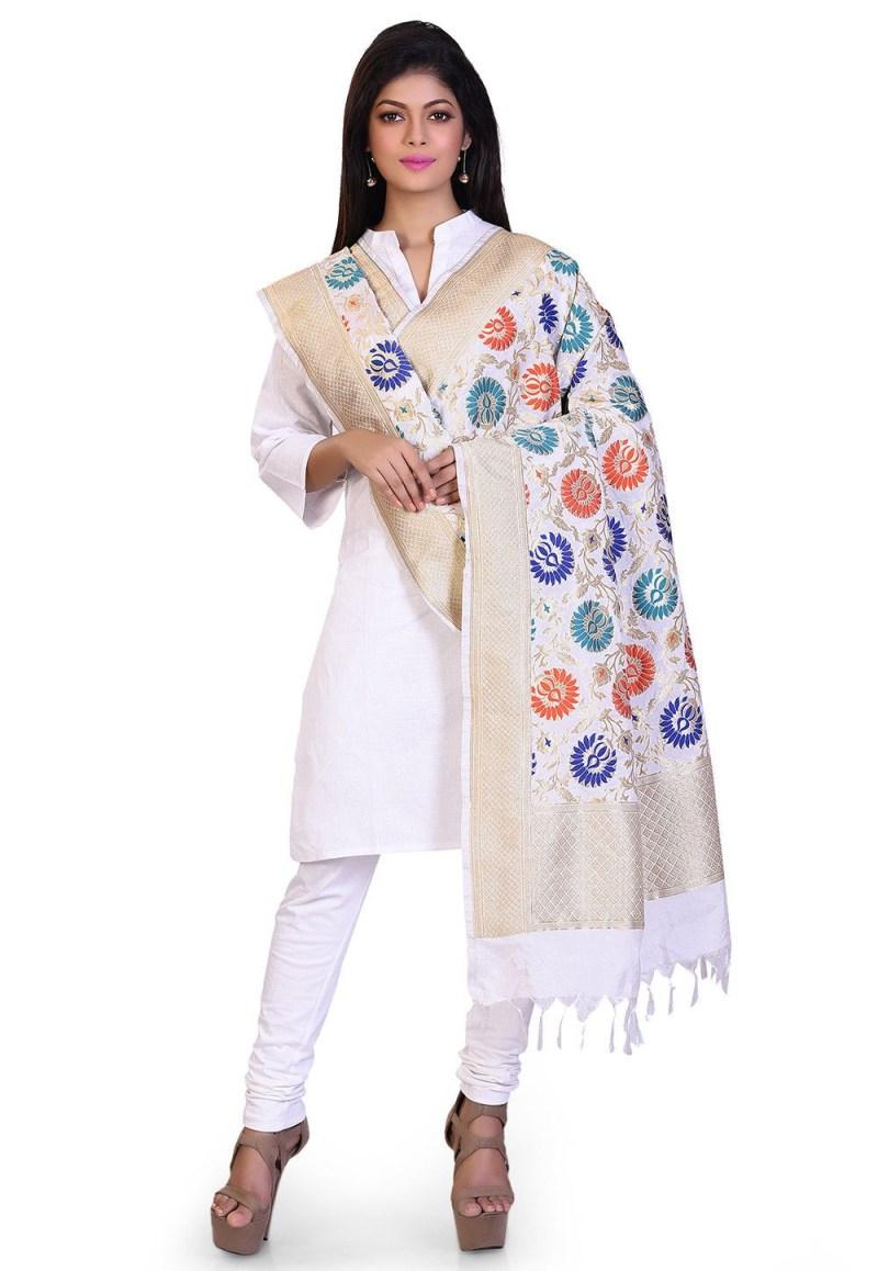 Woven Banarasi Art Silk Kimkhab Dupatta in White 3