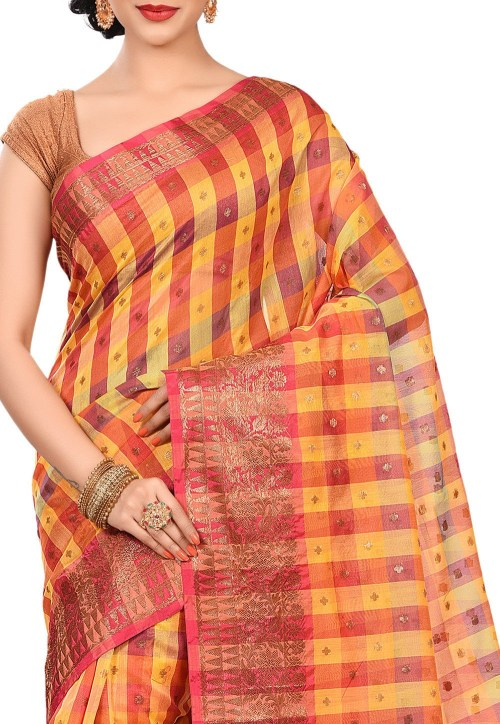 Banarasi Cotton Silk Saree in Multicolor 5