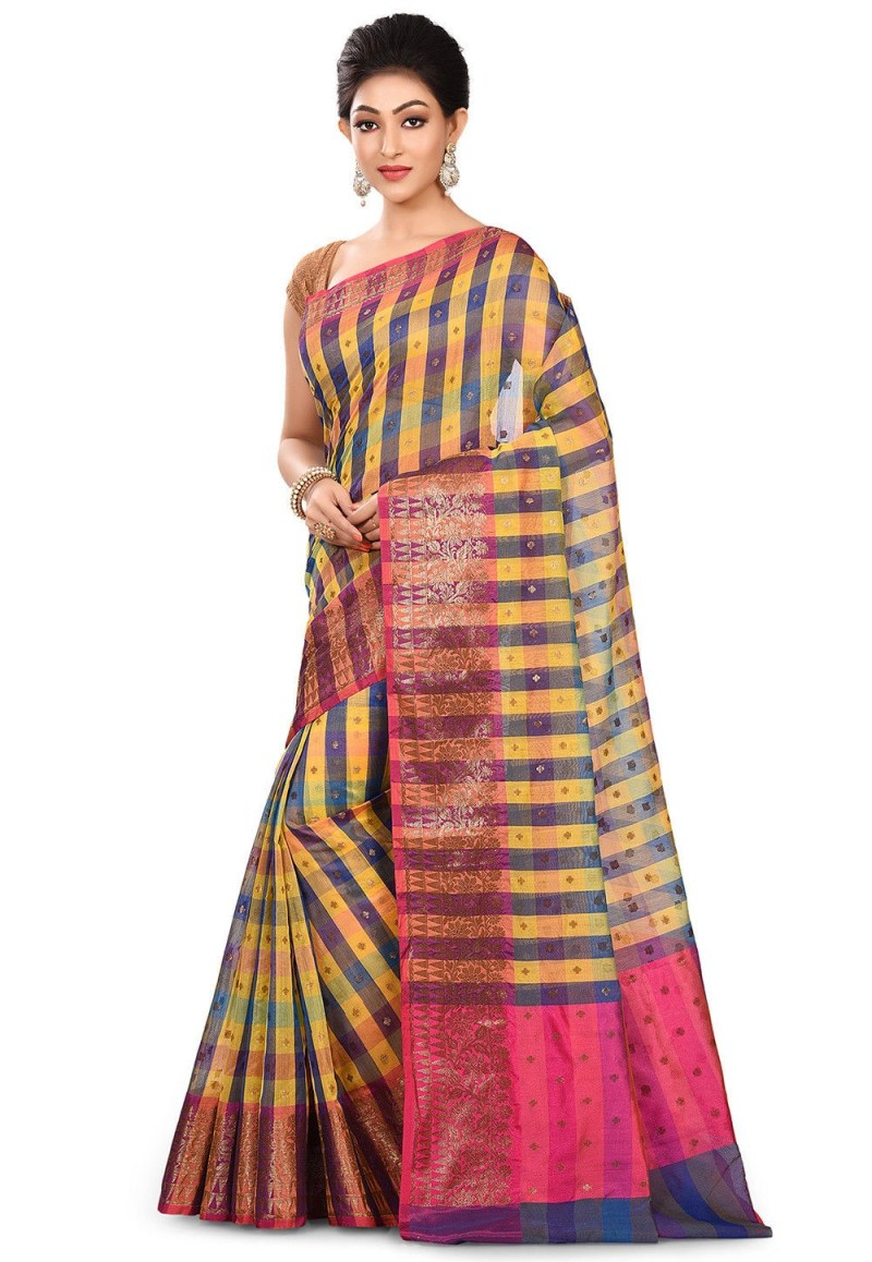 Banarasi Cotton Silk Saree in Multicolor 4