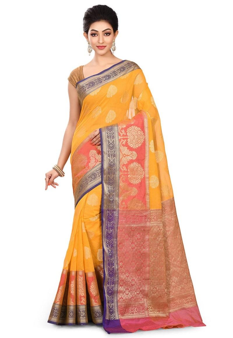 Banarasi Cotton Silk Saree in Mustard 1