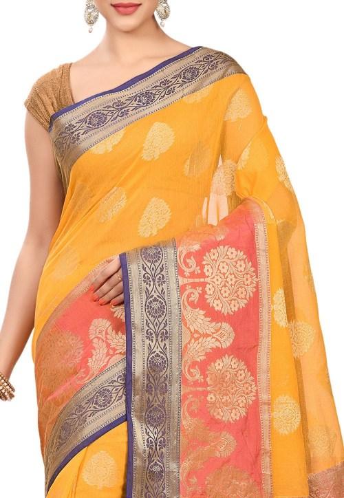 Banarasi Cotton Silk Saree in Mustard 5