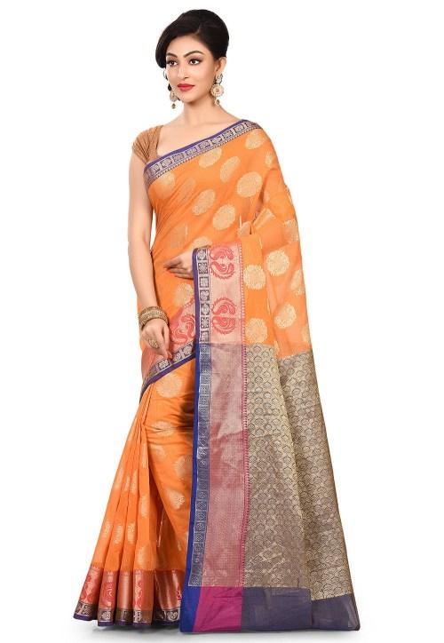 Banarasi Cotton Silk Saree in Orange 7