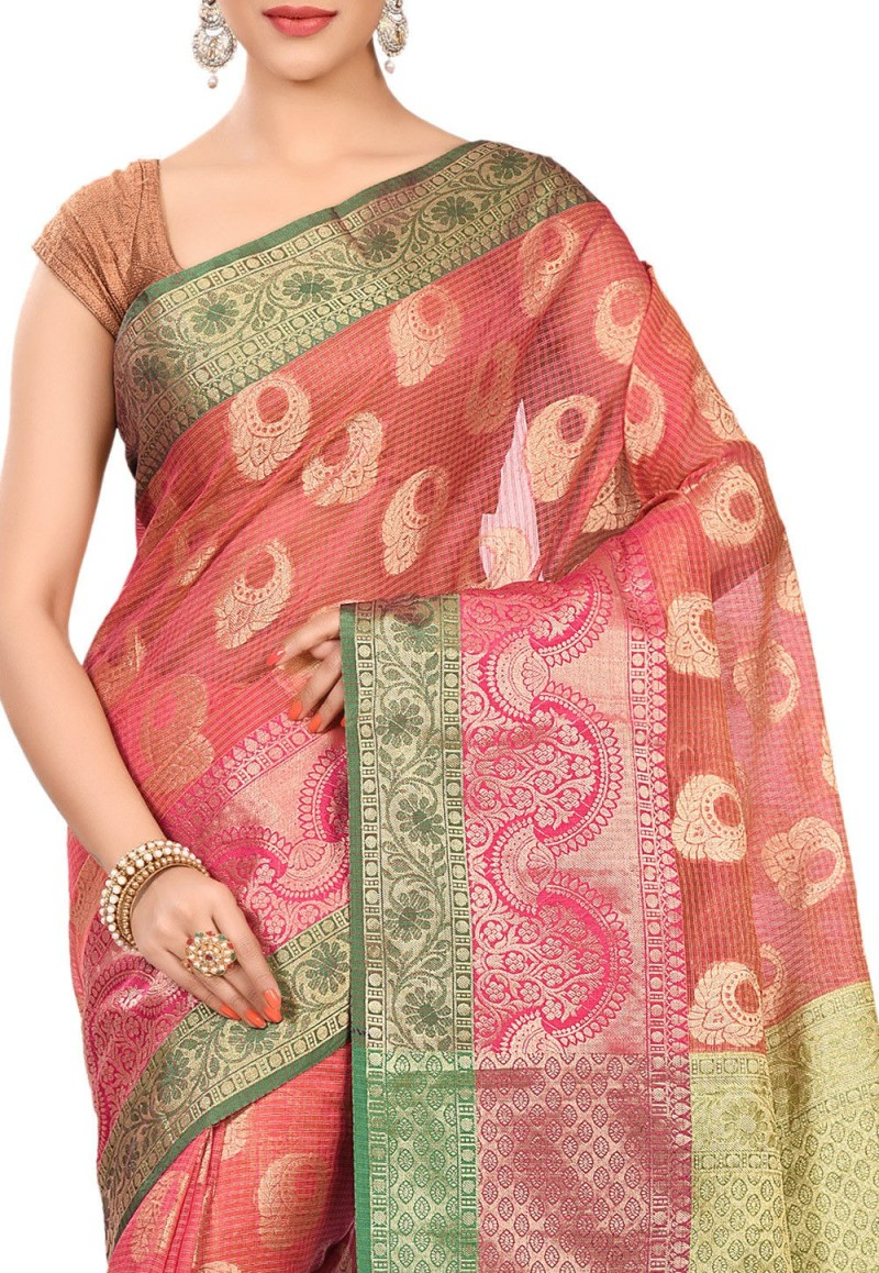 Banarasi Cotton Silk Saree in Fuchsia 2